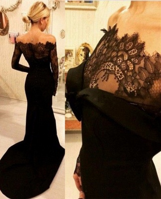 Off-The-Shoulder Mermaid Long Sleeve Black Lace Prom Dresses  BA4129_4