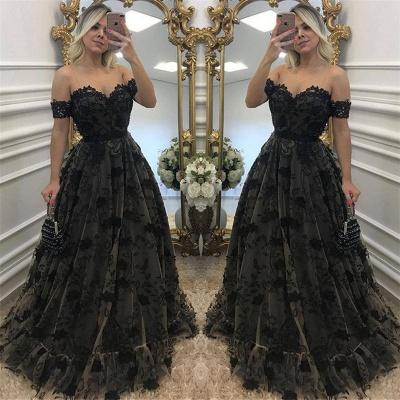 Black Off-the-Shoulder A-line Evening Dresses  Tulle Appliques Prom Dresses_3