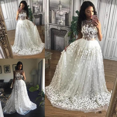 3D Floral Appliques  Prom Dresses Sheer Tulle Gorgeous  Formal Evening Gowns_3