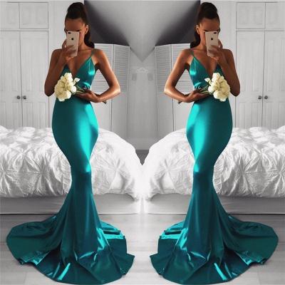 V-neck Mermaid Spaghetti Straps Evening Gown Sleeveless  Long Formal Dress BA7761_3