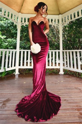 Sexy Mermaid Burgundy Velvet Bridesmaid Dresses  Sheath  Evening Gowns_2