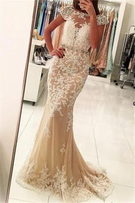 Fashion Appliques Round Neck Cap Sleeves Sexy Trumpet/Mermaid Online Prom Dress Sale   Suzhoudress UK_1
