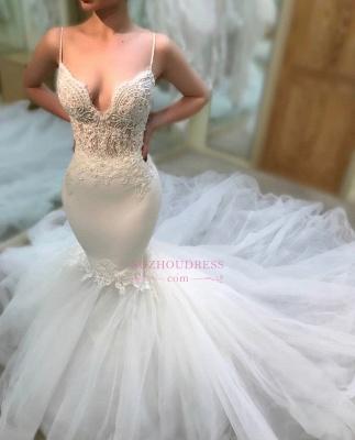 Gorgeous Lace Spaghetti-Straps Wedding Dresses Mermaid Sleeveless Bridal Gowns On Sale_3