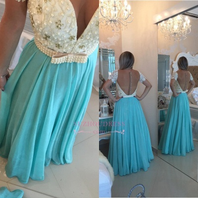 Modest Lace Pearls A-line Chiffon Short Sleeve Prom Dress BMT208_1
