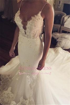 Appliques Spaghetti-Straps Sexy Tulle Mermaid Wedding Dress_2