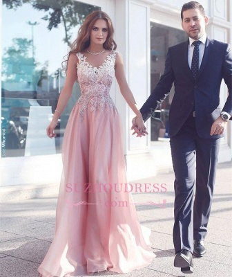 Appliques Pink Prom Dress  Sleeveless A-Line Floor Length Evening Gowns_1