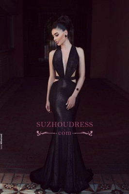 Black Mermaid Cutaway Sexy Evening Dresses  Sleeveless V-Neck Prom Dress_1