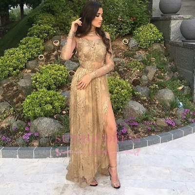 Side-Slit Appliques Sexy High-Neck Long-Sleeves Tulle Gold Prom Dresses_1