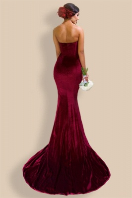 Sexy Mermaid Burgundy Velvet Bridesmaid Dresses  Sheath  Evening Gowns_3