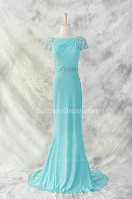 Charming Evening Dresses  Bateau Short Sleeve Sequins Beading Sash Chiffon Blue Zipper Sweep Train Prom Gowns_1