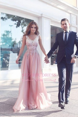 Appliques Pink Prom Dress  Sleeveless A-Line Floor Length Evening Gowns_3