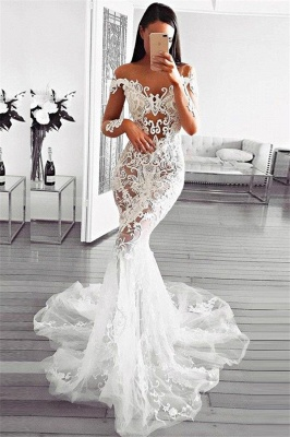 Gorgeous Mermaid Off Shoulder Wedding Dresses | Long Sleeves Appliques Sheer Bridal Gowns_1