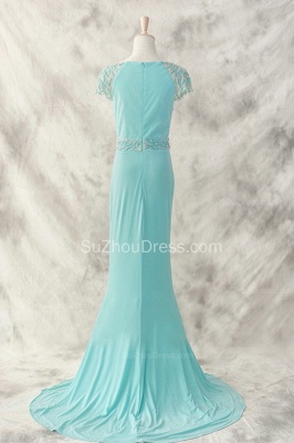 Charming Evening Dresses  Bateau Short Sleeve Sequins Beading Sash Chiffon Blue Zipper Sweep Train Prom Gowns_2