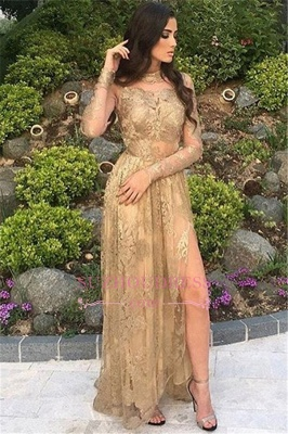 Side-Slit Appliques Sexy High-Neck Long-Sleeves Tulle Gold Prom Dresses_4