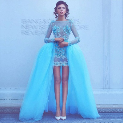 Long Sleeve Blue Beads Appliques Evening Dresses with Overskirt Sexy Puffy Short Prom Dress_3
