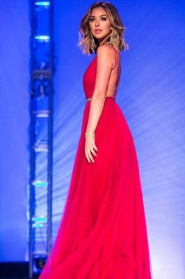 V-neck Prom Dresses  Chiffon Open Back Evening Long Dresses with Belt_3