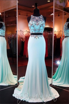 Two Pieces Sexy Mermaid Long Formal Occasion Dresses Sweep Train Beading Evening Dress CE0109_4