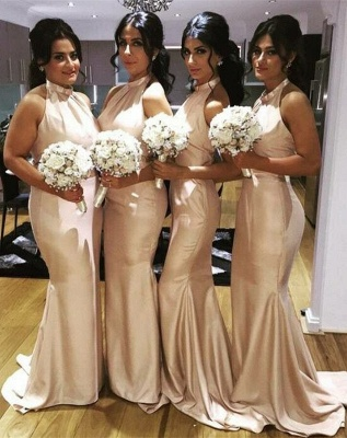 Elegant Halter Simple Long Bridesmaid Dress New Arrival Plus Size Wedding Party Dress_1