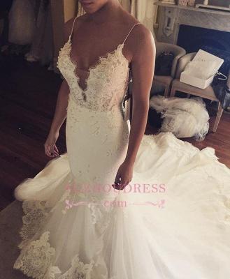 Appliques Spaghetti-Straps Sexy Tulle Mermaid Wedding Dress_1
