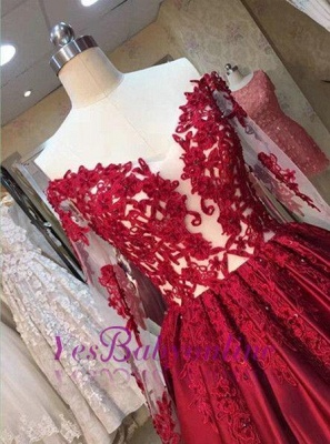 Long-Sleeves Off-the-Shoulder Red Lace-Appliques Puffy Prom Dresses BA5004_3