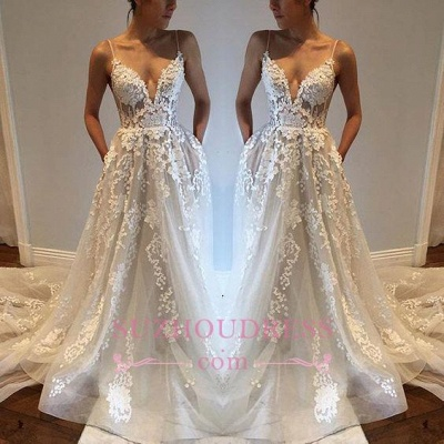 Sexy Appliques A-Line Bride Dress  Tulle Spaghetti-Straps V-Neck Wedding Dresses_1