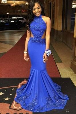 Gorgeous Halter Royal Blue Mermaid Prom Dresses Beading Evening Gowns BA4973_3