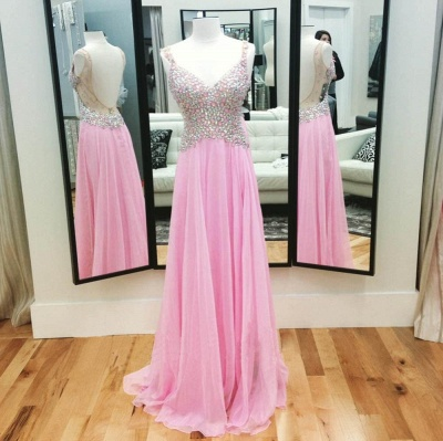 A-Line Pink Chiffon Crystal  Prom Dress Spaghetti Strap Backless Evening Gown_3