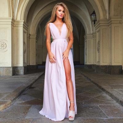 Deep V-neck Sexy Pink Formal Evening Dresses  Split  Party Dress_3