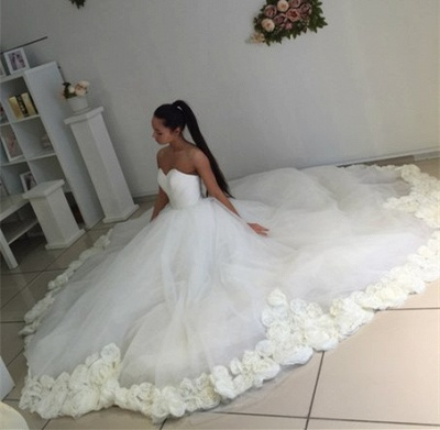 Sweetheart Princess Ball Gown Wedding Dress Open Back Bridal Gowns with Flowers_6