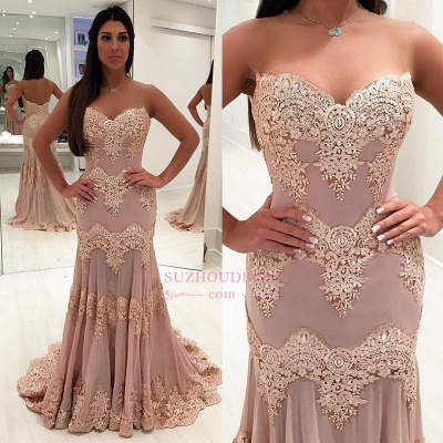 Sheath Sleeveless Sweetheart Prom Dresses | Lace Sweep-train Evening Gowns WW0017_3