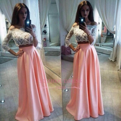 Elegant Lace Two Pieces Formal Dress  A-Line Off The Shoulder Pink Prom Dress_1