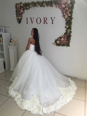Sweetheart Princess Ball Gown Wedding Dress Open Back Bridal Gowns with Flowers_5