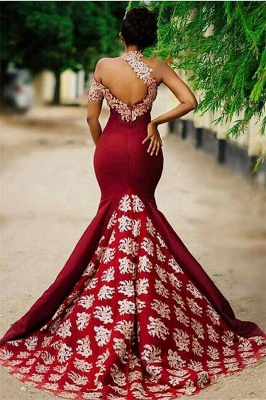 New Arrival High Neck Mermaid Prom Dresses Open Back Sleeveless Appliques Evening Dresses SK0095_3