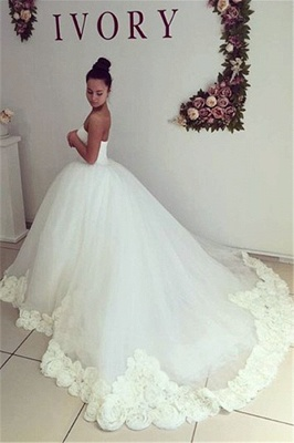 Sweetheart Princess Ball Gown Wedding Dress Open Back Bridal Gowns with Flowers_2