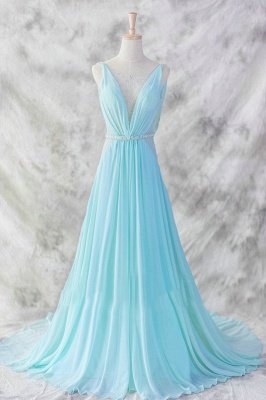 Evening Dresses Straps Sleeveless Blue A Line Sweep Train Sequins Sash Zipper  Prom Gowns_4