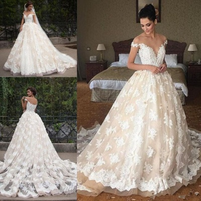 Off The Shoulder Lace Wedding Dress Champagne Tulle Open Back Ball Gown Bride Dress_3