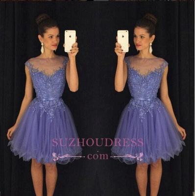 Lavender A Line Cap Sleeves Short Beadings Tulle   Homecoming Dress_1