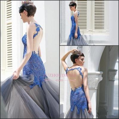 Sexy Sleeveless Tulle Glamorous Mermaid Appliques Evening Dress_4