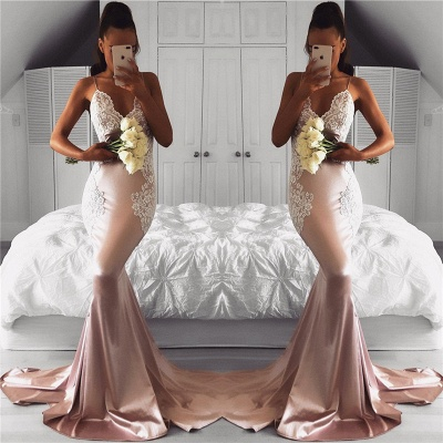 Spaghetti Straps V-neck Pink Prom Dresses Lace Mermaid   Formal Evening Gown FB0201-AN0_3
