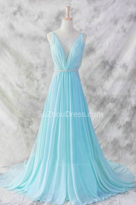 Evening Dresses Straps Sleeveless Blue A Line Sweep Train Sequins Sash Zipper  Prom Gowns_3