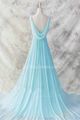 Evening Dresses Straps Sleeveless Blue A Line Sweep Train Sequins Sash Zipper  Prom Gowns_2
