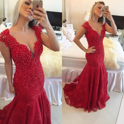 Cap Sleeve Pearls V-neck Red Delicate Lace Mermaid  Prom Dress BMT207_5