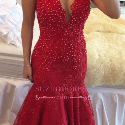 Cap Sleeve Pearls V-neck Red Delicate Lace Mermaid  Prom Dress BMT207_4