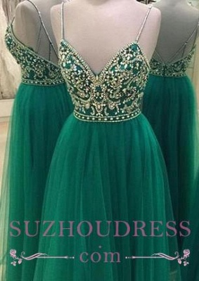Spaghetti Green Straps Prom Dress  Backless Beading A-line New Arrival Evening Dress_3
