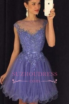 Lavender A Line Cap Sleeves Short Beadings Tulle   Homecoming Dress_2