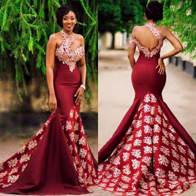 New Arrival High Neck Mermaid Prom Dresses Open Back Sleeveless Appliques Evening Dresses SK0095_4