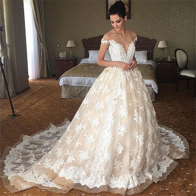 Off The Shoulder Lace Wedding Dress Champagne Tulle Open Back Ball Gown Bride Dress_4