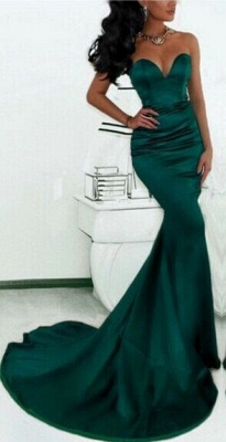 Simple Green Sweetheart Mermaid Evening Dress  Custom Made Formal Party Dresses_1