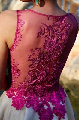 Fuchsia Lace Applique Mini  Homecoming Dresses Sleeveless A-Line Short Cocktail Dress_5