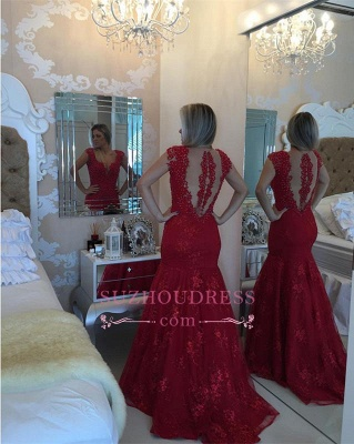 Cap Sleeve Pearls V-neck Red Delicate Lace Mermaid  Prom Dress BMT207_1